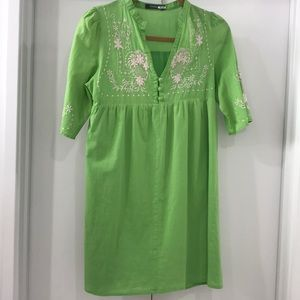 Theme Embroidered Babydoll Dress